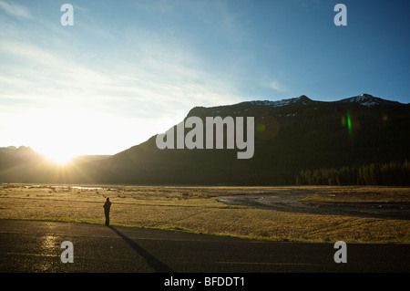 A woman drinks coffee and watches the sunrise from the road next to a field in Yellowstone National Park. - Stock Photo