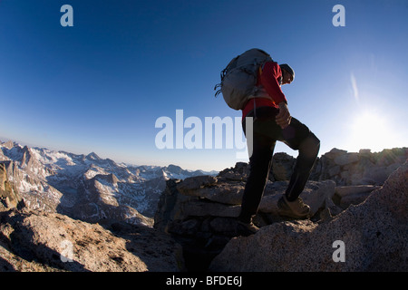 Male hiker on the Evolution Traverse, Kings Canyon National Park, California. - Stock Photo