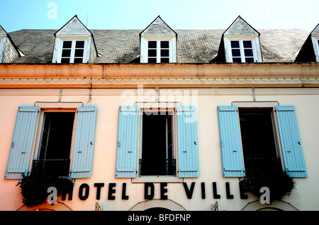 Hotel de Ville in small French town (Gan) - Stock Photo