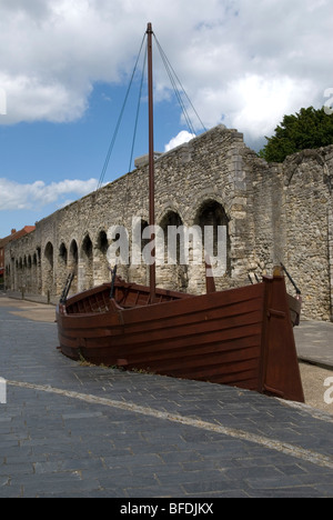 Southampton city has an old city wall, around the centre, and the machicolated arcades with gun positions for defence - Stock Photo