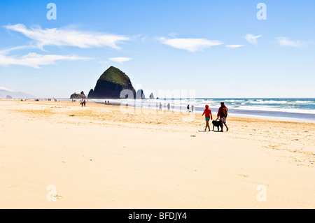 Couple walking dog on beach near Haystack Rock; Cannon Beach on the Oregon Coast. - Stock Photo