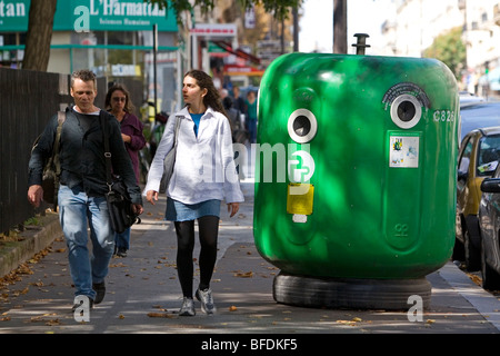 Curbside glass recycling bin in Paris, France. - Stock Photo