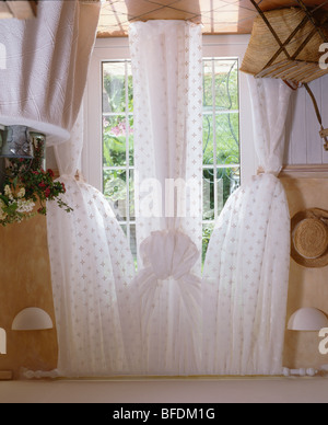White Curtains On French Windows In Spanish Country Dining Room ...