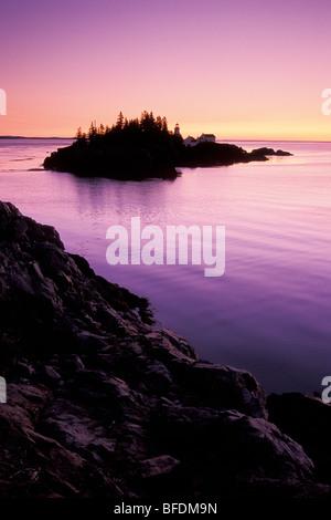 East Quoddy Lighthouse at sunrise, Campobello Island, New Brunswick, Canada - Stock Photo