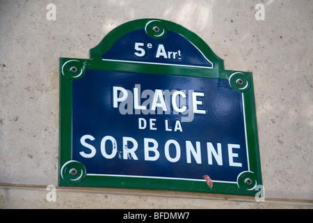 Place de la Sorbonne sign in Paris, France. - Stock Photo