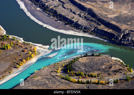 Aerial of the junction of the Chilcotin & Fraser Rivers in British Columbia, Canada - Stock Photo