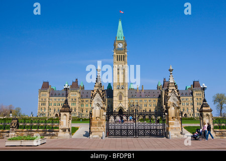 Centre Block and the Peace Tower of the Parliament Buildings on Parliament Hill, Ottawa, Ontario, Canada - Stock Photo