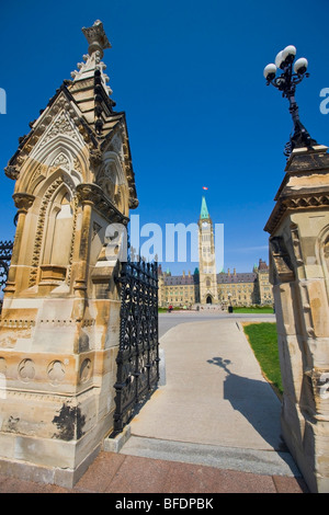 Centre Block and the Peace Tower of the Parliament Buildings on Parliament Hills, Ottawa, Ontario, Canada - Stock Photo
