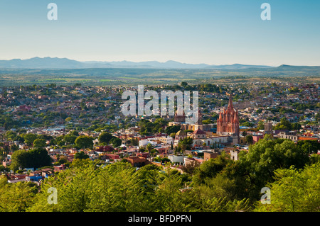 Overview of the historic district of the city of San Miguel de Allende, from El Mirador lookout point; Guanajuato, - Stock Photo