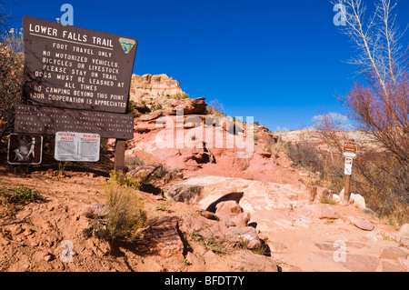 Sign at the lower Calf Creek Falls trail, Grand Staircase-Escalante National Monument, Utah - Stock Photo