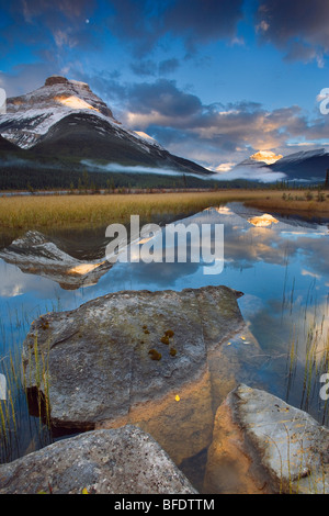 Rampart Ponds with Mount Athabasca and Mount Amery, Banff National Park, Alberta, Canada - Stock Photo