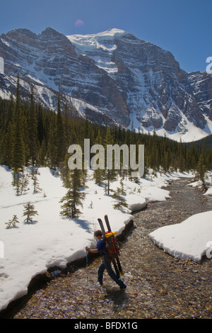 A skier making a river crossing in Paradise Valley, Lake Louise, Banff National Park, Alberta, Canada - Stock Photo