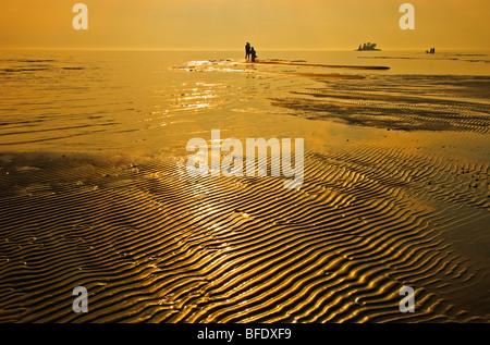 People on the beach at sunset, Wahnekewaning Beach, Ontario, Canada - Stock Photo