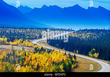Road through the Canadian Rockies in autumn, David Thompson Highway, Alberta, Canada - Stock Photo