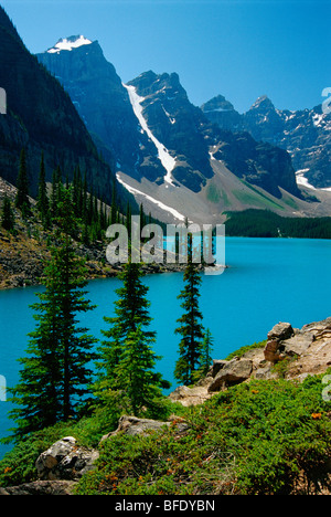 Moraine Lake and the Wenkchemna Peaks, Banff National Park, Alberta, Canada - Stock Photo
