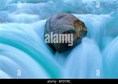 Detail of rock in Sunwapta Falls, Jasper National Park, Alberta, Canada - Stock Photo