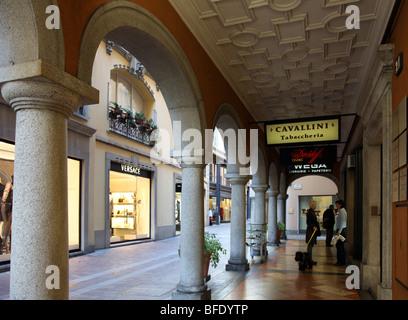 Via Nassa, Lugano's main shopping street - Stock Photo