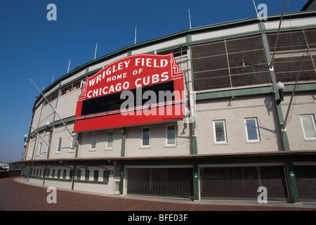 Iconic sign outside Wrigley Field stadium home of the Chicago Cubs team in Chicago Illinois - Stock Photo