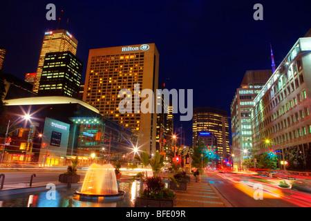 University Avenue at night, Toronto, Ontario, Canada - Stock Photo