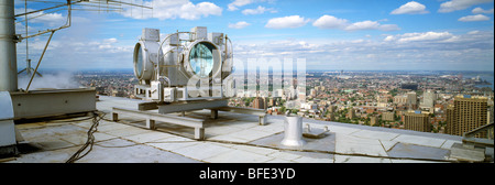 High power revolving spotlights on the roof of Place Ville Marie, Montreal, Quebec, Canada - Stock Photo