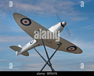 Spitfire Monument outside Southampton (Eastleigh) Airport, Hampshire, England - Stock Photo