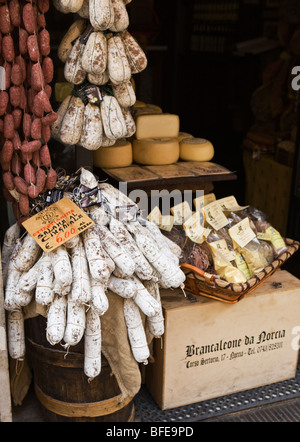 A Deli store displaying local foods in Norcia Umbria Italy - Stock Photo