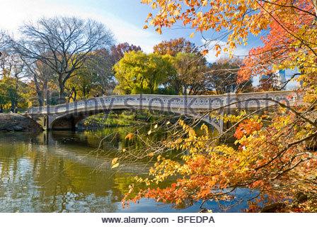Bow Bridge in Autumn, Central Park, New York City. - Stock Photo