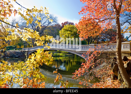 Bow Bridge in Autumn, Central Park, New York City. - Stock Photo