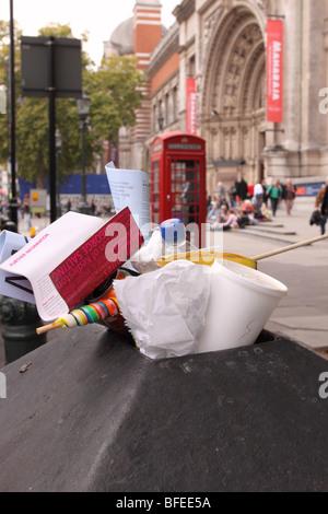 London full litter rubbish bin outside the Victoria and Albert Museum in South Kensington London - Stock Photo