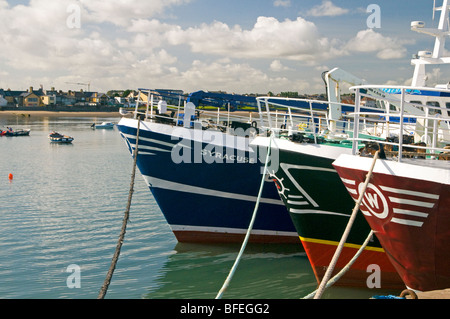 Fishing trawler boats moored in Skerries harbour north county Dublin Ireland - Stock Photo