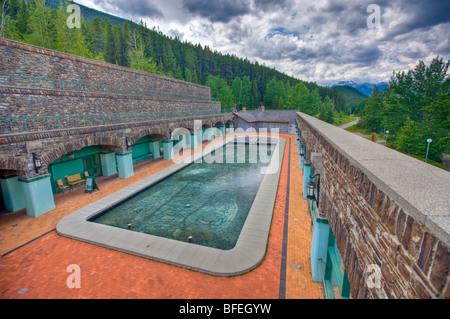 Swimming pool, Cave and Basin National Historic Site, Sulphur Mountain, Banff National Park, Alberta, Canada - Stock Photo
