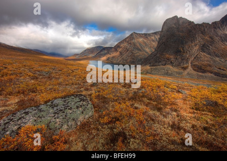 Looking south down the Klondike Valley with Divide Lake in distance, Yukon, Canada - Stock Photo