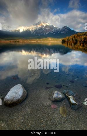 Sunrise over Pyramid Lake, Jasper National Park, Alberta, Canada - Stock Photo