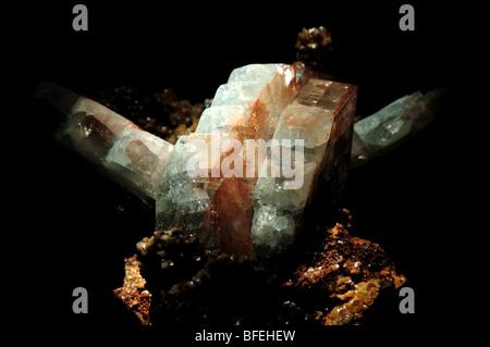 Barite (baryte) crystals, barium sulfate BaSO4. - Stock Photo