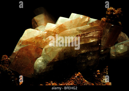 Barite (baryte) crystals, barium sulfate BaSO4. - Stock Photo