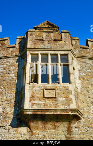 Walmer Castle, Kent, UK. Low angle view of the fortified entrance gate.