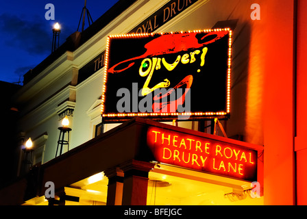 Theatre Royal, Drury Lane. Illuminated billboard for the musical Oliver. London, UK - Stock Photo