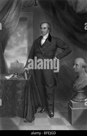 Portrait of US statesman + orator Daniel Webster (1782 - 1852) - regarded as one of the greatest senators in American - Stock Photo