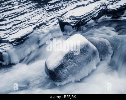 Mistaya River above Mistaya Canyon, Banff National Park, Alberta, Canada - Stock Photo