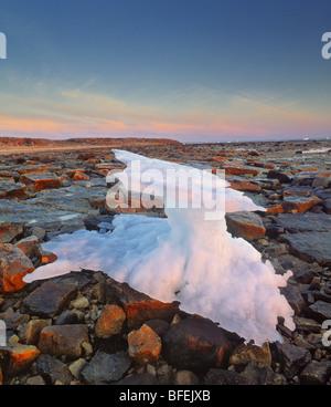 Iceberg on shoreline of Hudson's Bay, Churchill, Manitoba, Canada - Stock Photo
