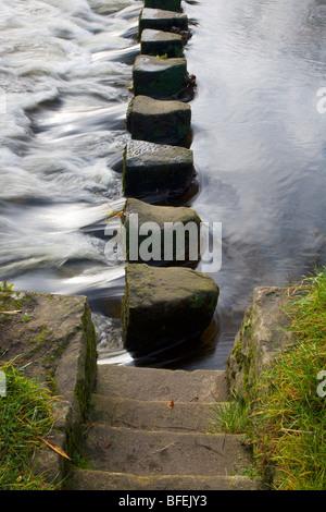Stepping Stones across the River Wharfe Ilkley Yorkshire England - Stock Photo