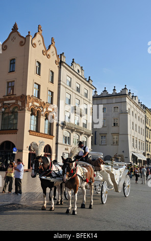 Horse-drawn Carriage in Main Market Square (Rynek Glowny) in Krakow (Cracow), Poland - Stock Photo
