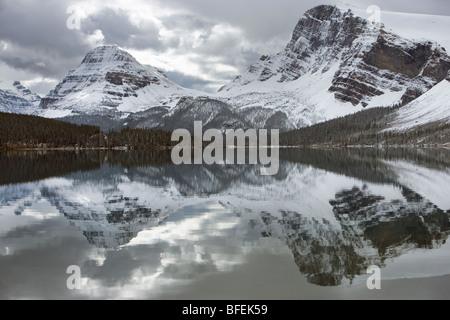 Bow Lake, Bow Peak at Bow Summit, Banff National Park, Alberta, Canada - Stock Photo