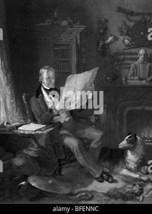 Portrait engraving of Scottish historical novelist and poet Sir Walter Scott (1771 - 1832) in his study at Abbotsford - Stock Photo