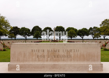 The inscription 'Their Name Liveth for Evermore' on a monument at a Canadian War Cemetery in France - Stock Photo