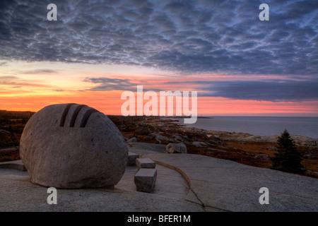 Sunrise over Swissair Flight 111 Memorial, Peggy's Cove, Nova Scotia, Canada - Stock Photo