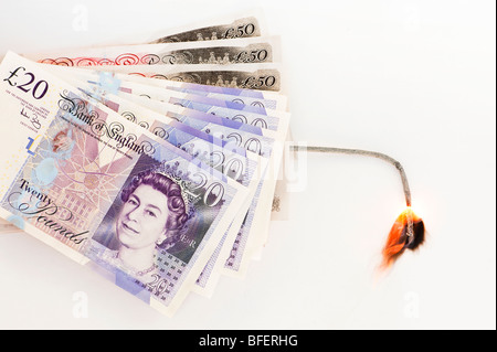 Exploding money concept - Stock Photo