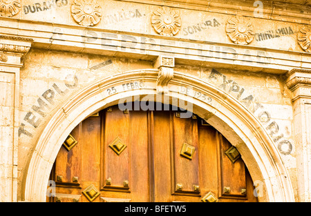 Signs over arched doorway at the cathedral, Basilica del la Inmaculada Concepci n in downtown Mazatlan, Sinaloa, - Stock Photo