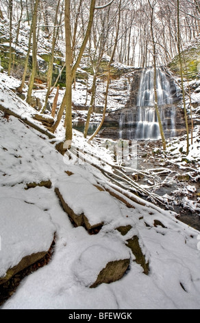 Sherman Falls and Ancaster Creek in winter, Bruce Trail, Niagara Escarpment, Hamilton, Ontario, Canada - Stock Photo