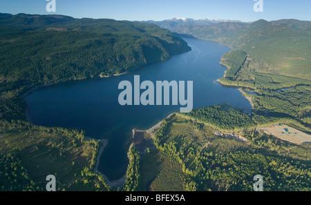 An aerial view of comox lake comox glacier and surrounding mountains.  Comox Valley Vancouver Island British Columbia - Stock Photo